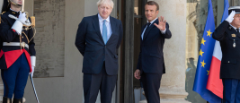 Paris, August 22, 2019 - President Macron welcoming PM Johnson