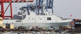 Golfe d'Aden, Djibouti, 6 février 2016 : navire de guerre chinois dans le port de Djibouti