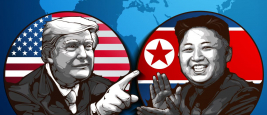 Portrait of U.S. President Donald Trump and North Korean Leader Kim Jong-un
