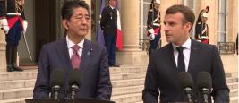 Le Président Emmanuel Macron et le Premier ministre du Japon, Shinzō Abe, 23 avril 2019