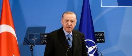Le Président turc Recep Tayyip Erdogan au meeting sur le référendum le 5 avril 2017 à Bursa
