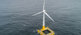 The Floatgen floating wind turbine, equipped with the Ideol float, installed on the SEM-REV (Centrale Nantes) off Le Croisic.