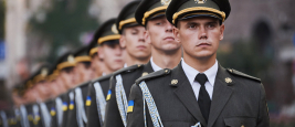 Ukrainian soldiers took part in rehearsal for the parade in Kyiv