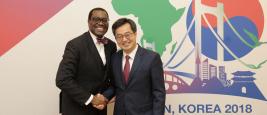Akinwumi Ayodeji Adesina, President of the African Development Bank, and Dong Yeon Kim, Deputy Prime Minister of the Republic of Korea, KOAFEC, May 2018