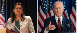 Le président américain Joe Biden et Rashida Tlaib, une des deux premières femmes musulmanes élues à la Chambre des représentants