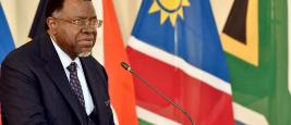 Le président namibien Hage Geingob s'adressant à la commission binationale sud-africaine.