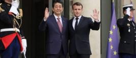Shinzo Abe and Emmanuel Macron, Elysée, Paris, April 2019
