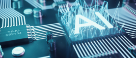 Illustration 3D: intelligence artificielle abstraite sur carte à circuit imprimé. Concept de technologie et d'ingénierie. Neurones de l'intelligence artificielle. puce électronique, processeur de la tête.