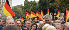 Chemnitz, Germany, September 01, 2018: Afd demonstration Trauermarsch