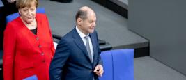 La chancelière allemande Angela Merkel et Olaf Scholz, Ministre allemand des Finances, Berlin, 2019
