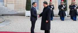 PARIS, FRANCE - MARCH 25, 2018 : The french president Emmanuel Macron welcoming chinese President Xi Jinping