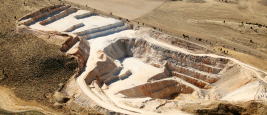 An aerial view of an open pit phosphate mine
