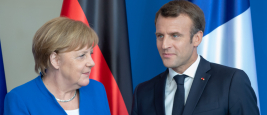 Posing after the statements: German Chancellor Angela Merkel and the French President Emmanuel Macron at the chancellery in Berlin, Germany. September 22, 2021