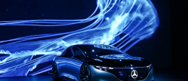 Frankfurt am Main, Germany - September 17, 2019: World premiere of the luxury car Mercedes-Benz Vision EQS at the Frankfurt Motor Show IAA 2019 (Internationale Automobil Ausstellung