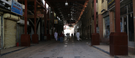 Kuwait City - April 20, 2020: Hallways of Mubarakiya Market in Kuwait city are nearly empty due to Covid-19 lockdown