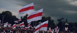 Grodno, Belarus August 19, 2020: Peaceful protests in Belarus. Protesting against dictator president Lukashenko, Belarus 2020.