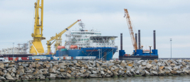 Nordstream 2 special pipe-laying vessel Akademik Cherskiy in the Baltic Sea, Port of Mukran, near Sassnitz on the Island of Rugen on August 21, 2020