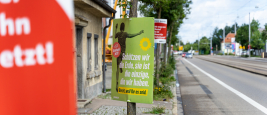 """Political posters with campaign slogan from the party """"Die Grünen"""", Augsburg, Bavaria, Germany - August 6, 2021"""
