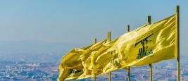 Drapeaux du Hezbollah surplombant le Sud-Liban