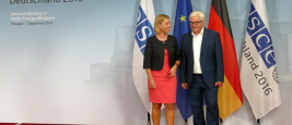 Federal Foreign Minister Dr Frank-Walter Steinmeier welcomes Federica Mogherini, High Representative of the EU for Foreign Affairs and Security Policy. Potsdam, Germany. September 1st, 2016.
