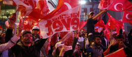 ISTANBUL, TURKEY, 16 APR?L 2017 Supporters of Turkish President Tayyip Erdogan celebrate in Istanbul.
