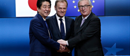 Japan's Prime minister Shinzo Abe is welcomed by EU Council President Donald Tusk and EU Commission President Jean-Claude Juncker at the EU Japan leader's summit meeting in Brussels on 6 July 2017