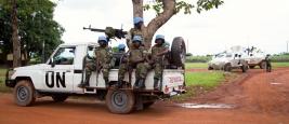 Une patrouille de la MINUSCA à Bangui en République centrafricaine.