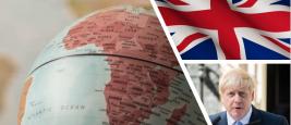 Globe facing Africa, UK flag and Boris Johnson