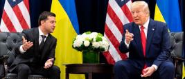 Donald Trump and Ukraine President Volodymyr Zelensky on September 25, 2019, in New York City