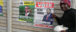 Harare,Zimbabwe,10 July 2018. A main showing his presidential candidate for the elections.