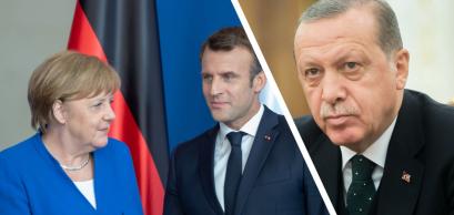 Angela Merkel, Emmanuel Macron and Recep Tayyip Erdoğan