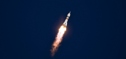Launch of a Soyuz rocket from Baikonur cosmodrome