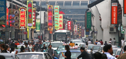 Heavy traffic jam in Shanghai, China.
