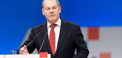 Olaf Scholz, membre des sociaux-démocrates s'exprime lors de la conférence du parti à Berlin. 17 décembre 2017.