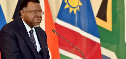 Namibian President Hage Geingob addressing the South African bi-national commission.