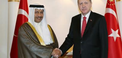 Le président Recep Tayyip Erdoğan et le premier ministre du Koweït, Sheikh Jaber Mubarak Al-Hamad Al-Sabah