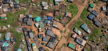 Vue aérienne d'une zone d'habitation à Johannesburg, en Afrique du Sud