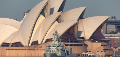 HMAS Parramatta Anzac-class frigate of the Royal Australian Navy in Sydney Harbor