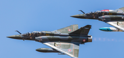 French Mirage 2000D pair flying in tight formation at RAF Fairford, Gloucestershire in July 2018.