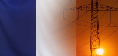 Shutterstock / Concept Energy Distribution, Flag of France with high voltage power pole during sunset