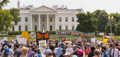 WASHINGTON, DC, USA - APRIL 29, 2017: Climate March demonstrators protest in front of White House.