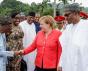 Der nigerianische Präsident Buhari empfängt die deutsche Kanzlerin Angela Merkel in seiner offiziellen Residenz am 31. August 2018. Copyright Channels TV