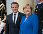 Paris, France - July 13, 2017 : Chancellor Angela Merkel with President Emmanuel Macron at the Elysee Palace
